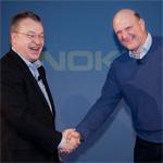CEO Stephen Elop, Nokia and CEO Steve Ballmer, Microsoft